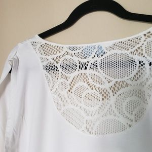 Cynthia Rowley White T-Shirt with Lace Back 🇺🇸